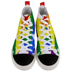 Lgbt Flag Map Of Northern Ireland Men s Mid Top Canvas Sneakers