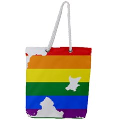 Lgbt Flag Map Of Northern Ireland Full Print Rope Handle Tote (large)