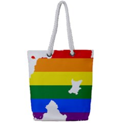 Lgbt Flag Map Of Northern Ireland Full Print Rope Handle Tote (small)