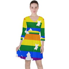 Lgbt Flag Map Of Northern Ireland Ruffle Dress