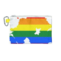 Lgbt Flag Map Of Northern Ireland Canvas Cosmetic Bag (medium)