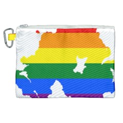 Lgbt Flag Map Of Northern Ireland Canvas Cosmetic Bag (xl)