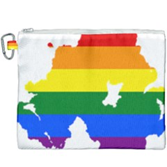 Lgbt Flag Map Of Northern Ireland Canvas Cosmetic Bag (xxxl)
