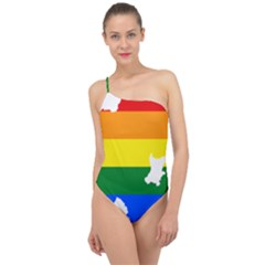 Lgbt Flag Map Of Northern Ireland Classic One Shoulder Swimsuit
