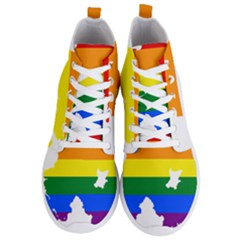 Lgbt Flag Map Of Northern Ireland Men s Lightweight High Top Sneakers