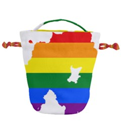 Lgbt Flag Map Of Northern Ireland Drawstring Bucket Bag by abbeyz71