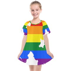 Lgbt Flag Map Of Northern Ireland Kids  Smock Dress
