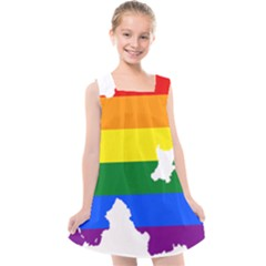 Lgbt Flag Map Of Northern Ireland Kids  Cross Back Dress