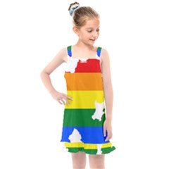 Lgbt Flag Map Of Northern Ireland Kids  Overall Dress