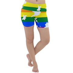 Lgbt Flag Map Of Northern Ireland Lightweight Velour Yoga Shorts