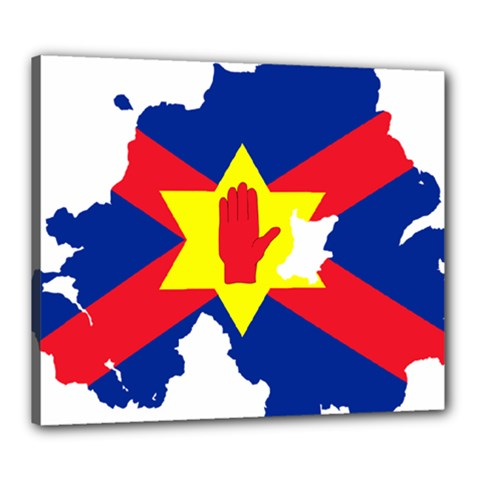 Ulster Nationalists Flag Map Of Northern Ireland Canvas 24  X 20  (stretched)