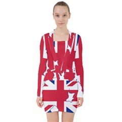 Union Jack Flag Map Of Northern Ireland V-neck Bodycon Long Sleeve Dress by abbeyz71