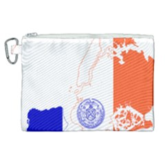 Flag Map Of New York City Canvas Cosmetic Bag (xl) by abbeyz71