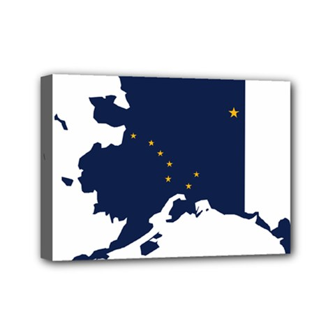 Flag Map Of Alaska Mini Canvas 7  X 5  (stretched) by abbeyz71