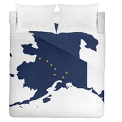Flag Map Of Alaska Duvet Cover Double Side (queen Size) by abbeyz71