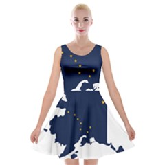 Flag Map Of Alaska Velvet Skater Dress by abbeyz71
