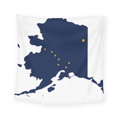 Flag Map Of Alaska Square Tapestry (small) by abbeyz71
