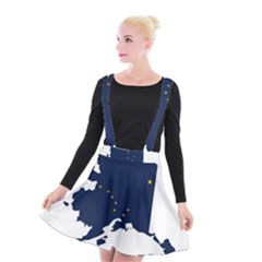 Flag Map Of Alaska Suspender Skater Skirt