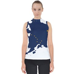 Flag Map Of Alaska Mock Neck Shell Top