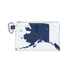 Flag Map Of Alaska Canvas Cosmetic Bag (small) by abbeyz71