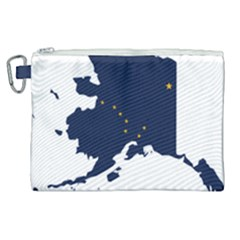 Flag Map Of Alaska Canvas Cosmetic Bag (xl) by abbeyz71