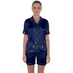 Flag Of Alaska Satin Short Sleeve Pyjamas Set