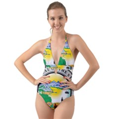 State Seal Of Alaska  Halter Cut Out One Piece Swimsuit