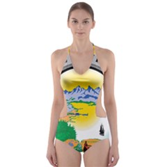 State Seal Of Alaska  Cut Out One Piece Swimsuit