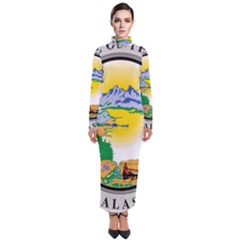 State Seal Of Alaska  Turtleneck Maxi Dress