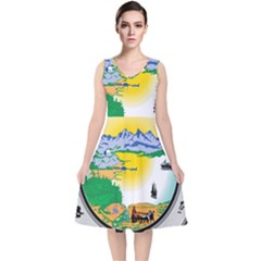 State Seal Of Alaska  V Neck Midi Sleeveless Dress