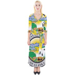 State Seal Of Alaska  Quarter Sleeve Wrap Maxi Dress
