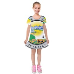 State Seal Of Alaska  Kids  Short Sleeve Velvet Dress