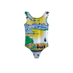 State Seal Of Alaska  Kids  Frill Swimsuit