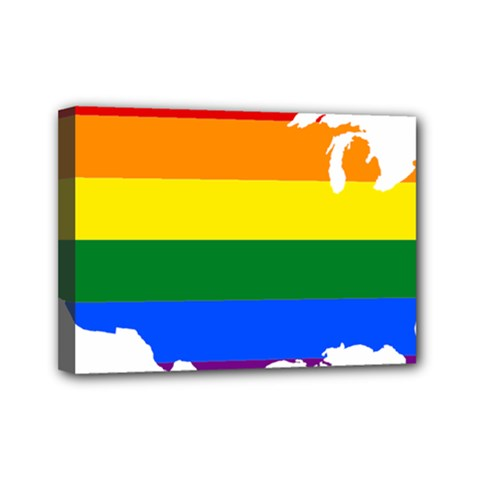 Usa Lgbt Flag Map Mini Canvas 7  X 5  (stretched)
