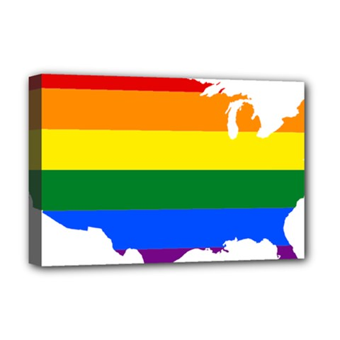 Usa Lgbt Flag Map Deluxe Canvas 18  X 12  (stretched) by abbeyz71