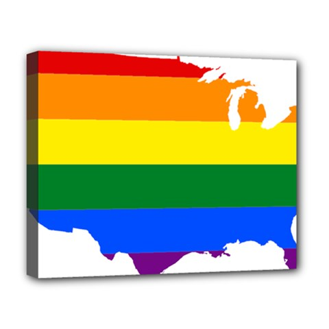 Usa Lgbt Flag Map Deluxe Canvas 20  X 16  (stretched)