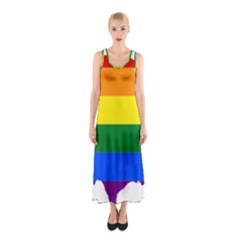 Usa Lgbt Flag Map Sleeveless Maxi Dress
