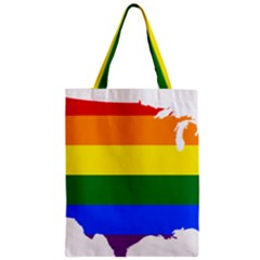 Usa Lgbt Flag Map Zipper Classic Tote Bag by abbeyz71