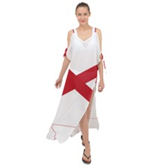 Flag Map Of Alabama Maxi Chiffon Cover Up Dress