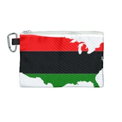 Pan African Flag Map Of United States Canvas Cosmetic Bag (medium) by abbeyz71