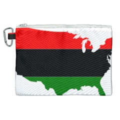 Pan African Flag Map Of United States Canvas Cosmetic Bag (xl) by abbeyz71