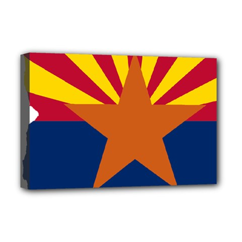 Flag Map Of Arizona Deluxe Canvas 18  X 12  (stretched) by abbeyz71