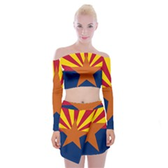 Flag Map Of Arizona Off Shoulder Top With Mini Skirt Set by abbeyz71