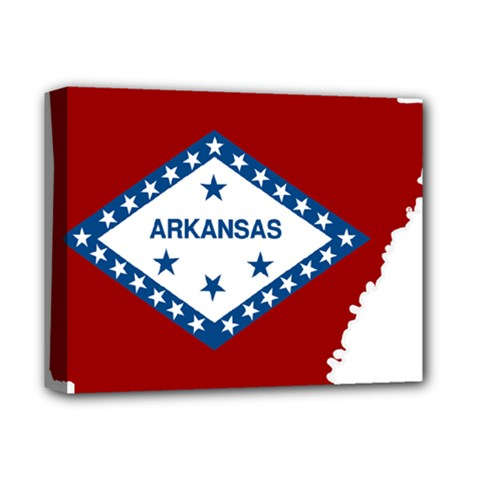 Flag Map Of Arkansas Deluxe Canvas 14  X 11  (stretched) by abbeyz71