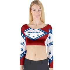 Flag Map Of Arkansas Long Sleeve Crop Top by abbeyz71
