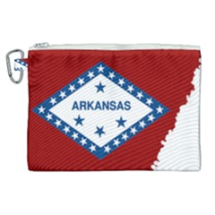 Flag Map Of Arkansas Canvas Cosmetic Bag (xl) by abbeyz71
