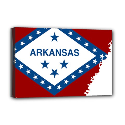 Flag Map Of Arkansas Deluxe Canvas 18  X 12  (stretched) by abbeyz71