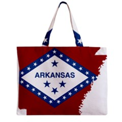 Flag Map Of Arkansas Zipper Medium Tote Bag by abbeyz71