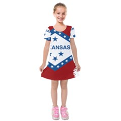 Flag Map Of Arkansas Kids  Short Sleeve Velvet Dress