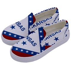 Flag Map Of Arkansas Kids  Canvas Slip Ons by abbeyz71